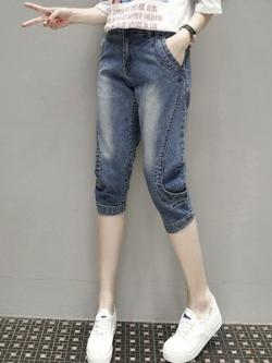 กางเกงยีนส์ขาสามส่วน สียีนส์ (XL,2XL,3XL,4XL,5XL) YL6278