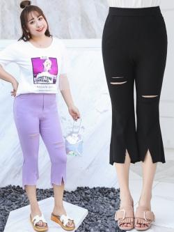 กางเกงผ้ายืดขาสามส่วนแฟชั่นสาวอวบ แต่งขาด สีม่วง/สีดำ (XL,2XL,3XL,4XL) ZX1166