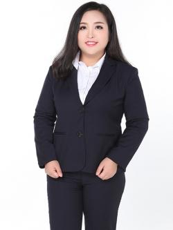 ♥พร้อมส่ง♥ เสื้อสูทผู้หญิงอ้วน สีกรมท่า ปกเทเลอร์แขนยาวติดกระดุมสองเม็ด 5XL (อก 44)