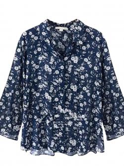 ♥พร้อมส่ง♥ เสื้อเชิ้ตชีฟองสีน้ำเงินลายดอกไม้ แขนยาว ติดกระดุมหน้า (3XL)