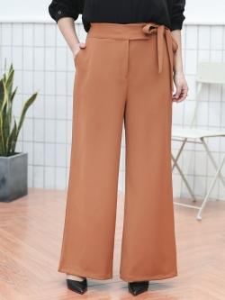 กางเกงขายาวผ้าฮานาโกะสำหรับสาวอวบ สีคาราเมล (XL,2XL,3XL,4XL) YK007