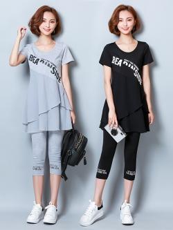 ชุดเซ็ทแฟชั่น 2 ชิ้น มี 2 สี สีเทา/สีดำ เสื้อยืดแขนสั้น+กางเกงขาสามส่วน (L,XL,2XL,3XL,4XL,5XL) #93-101
