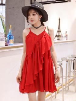 เดรสชีฟองย่น คอวี สายเดี่ยว(ปรับได้) สีแดง/สีดำ (M,L,XL,2XL,3XL) JK-9971