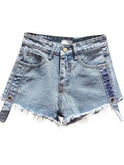 กางเกงยีนส์ขาสั้น สีฟ้ายีนส์ แต่งแท๊บ ปลายขารุ่ย (L,XL,2XL,3XL,4XL) X0738#