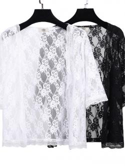 เสื้อคาร์ดิแกนผ้าลูกไม้เนื้อนุ่มใส่สบาย (XL,2XL,3XL,4XL) ZX0541