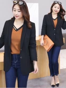 เสื้อสูททำงานสาวอวบ สีดำ (XL,2XL,3XL,4XL) ZXA023