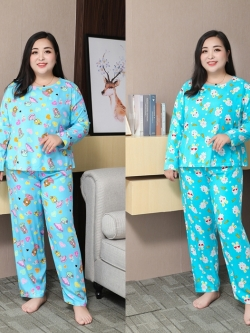 ชุดนอนผ้าฝ้ายลายน่ารักสดใส เสื้อคอกลมแขนยาว+กางเกงขายาว เอวยืดสุด ๆ (3XL,4XL,5XL,6XL,7XL,8XL,9XL) TX-83