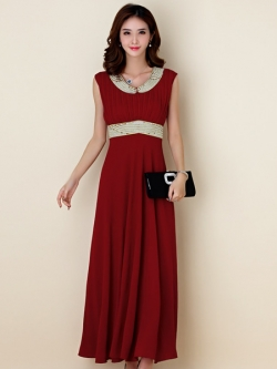 ชุดราตรียาวสวยสง่างาม ติดเพชรสวยไฮโซ แขนกุด สีไวน์แดง/สีดำ (XL,2XL,3XL) JK-9862