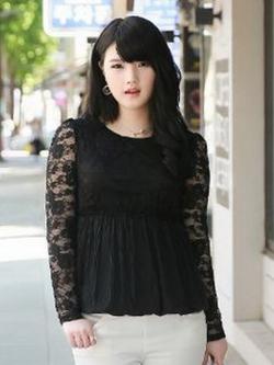 เสื้อลูกไม้ สีดำ ใต้อกลงไปเป็นผ้าชีฟองจีบ แบบหรูสง่างาม (L,XL,2XL,4XL,5XL) C-11171