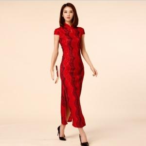 ชุดกี่เพ้ายาวสีแดงไซส์ใหญ่ (M,L,XL,2XL,3XL) JK-9888