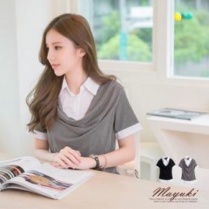 ♡♡pre-order♡♡ เสื้อทำงานน่ารักๆ ทูโทนแต่งเสื้อ 2 ชั้น ชั้นในเป็นเสื้อเชิ๊ตสีขาวมีคอปก ด้านนอกปล่อยย้อยตรงคอเสื้อ สวยน่ารักมากๆ