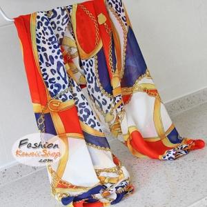 ผ้าพันคอแฟชั่น ลายเสือดาวประดับโซ่ : สีน้ำเงิน CK0443