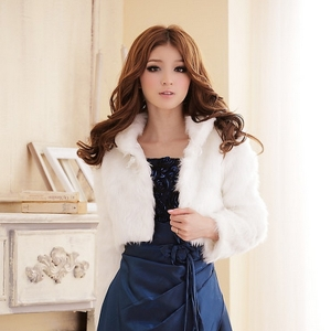 ♥ พร้อมส่ง ♥ เสื้อคลุมขนมุ้งมิ้ง สีขาว (2XL) JK~2316