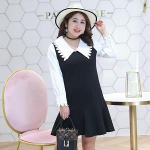เดรสสีขาวดำ ปกออกแบบน่ารักดูหวานสไตล์ตุ๊กตา ชุดทรงหลวม ผ้ายืด เนื้อนุ่มสบายผิว (XL,2XL,3XL,4XL) ZX0994