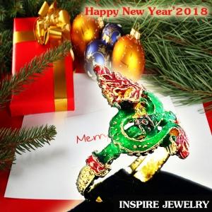 Inspire Jewelry ,แหวนพญานาคFree Size งานลงยาคุณภาพ ตัวเรือนหุ้มทอง นำโชค เสริมดวง
