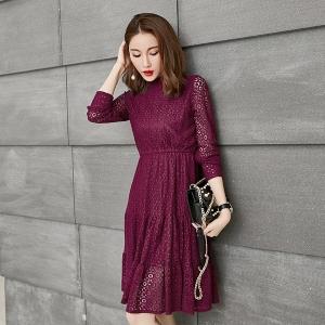 ชุดเดรสผ้าลูกไม้สาวอวบ แขนยาว สีดำ/สีไวน์แดง (XL,2XL,3XL,4XL,5XL) E3260
