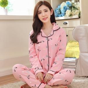 ++พร้อมส่ง++ ชุดนอนผ้าฝ้ายไซส์ใหญ่ ปกเชิ้ต ติดกระดุม แขนยาว-ขายาว สีชมพูลายหมีแพนด้า 2XL