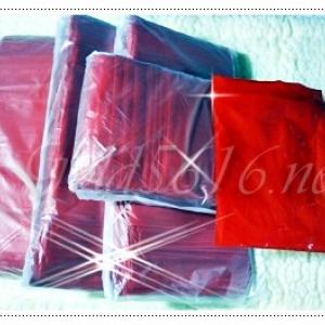 ถุงซิบแดงขุ่น มีหลายขนาด ขายเป็นห่อ