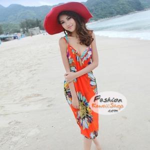 ผ้าสายเดี่ยวคลุมชายหาดลายดอกไม้ Blossom : สีส้ม AB0024