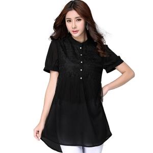 ++พร้อมส่ง++ เสื้อลำลองผ้าชีฟองแต่งช่วงอกสวย สีดำ 3XL