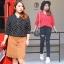 เสื้อเชิ้ตชีฟองลายจุดเนื้อดี คอวี แขนยาว มีกระเป๋าคู่ สีดำ/สีแดง (XL,2XL,3XL,4XL) thumbnail 1