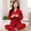 ชุดนอนผ้าฝ้ายไซส์ใหญ่ แขนยาว-ขายาว ปกเชิ้ต สีแดงลายจุด (XL,2XL,3XL) thumbnail 1