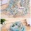 ผ้าพันคอแฟชั่นสวยหรู Luxury : สีฟ้าขาว CK0037 thumbnail 2
