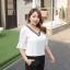 เสื้อชีฟองไซส์ใหญ่ คอวี แขนกระดิ่ง สีดำ/สีขาว (XL,2XL,3XL,4XL) thumbnail 2