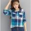 เสื้อเชิ้ตผ้าฝ้ายลายสก๊อตไซส์ใหญ่ สีแดง/สีฟ้า (XL,2XL,3XL,4XL) thumbnail 1