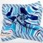 ผ้าพันคอ ผ้าคาดผมเนื้อไหมญี่ปุ่น : สีฟ้าขาว MJ0010 thumbnail 2