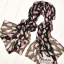 ผ้าพันคอลายขนนก Feather : สีชมพูอ่อนพื้นสีดำ CK0307 thumbnail 1