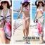 ผ้าคลุมชายหาดลายชบา Blossom : สีชมพูอ่อนและใบไม้สีเขียวขจี AB0014 thumbnail 5