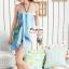 ผ้าคลุมชายหาดลายดอกไม้ Blossom : พื้นสีฟ้า AB0012 thumbnail 2