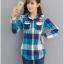 เสื้อเชิ้ตผ้าฝ้ายลายสก๊อตไซส์ใหญ่ สีแดง/สีฟ้า (XL,2XL,3XL,4XL) thumbnail 2