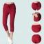 ++พร้อมส่ง++ กางเกงขาสี่ส่วน สีแดงเข้ม เอวยืด มีกระเป๋า (4XL) thumbnail 2