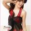 ผ้าคลุมชายหาดลายดอกไม้ Blossom : สีแดงชมพูพื้นดำ AB0007 thumbnail 4
