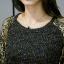 เสื้อทีเชิ้ตสีดำไซส์ใหญ่ คอกลม แขนยาว(ผ้าฉลุลายขนนกยูงขลิบทอง) (XL,2XL,3XL,4XL) thumbnail 4