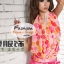 ผ้าคลุมชายหาด ลายจุด Polka Dot : สีส้มชมพูพื้นขาว AB0011 thumbnail 1