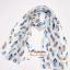ผ้าพันคอลายขนนก Feather : สีฟ้าอ่อนพื้นขาว CK0305 thumbnail 8