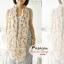 ผ้าพันคอลายขนนก Feather : สีน้ำตาลอ่อนพื้นสีครีม CK0306 thumbnail 2