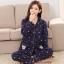 ชุดนอนผ้าคอตตอนไซส์ใหญ่ ปกเชิ้ต แขนยาว-ขายาว สีน้ำเงินลายหมี (XL,2XL,3XL) thumbnail 1