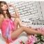 ผ้าคลุมชายหาดลายดอกไม้ Blossom : สีส้มพื้นผ้าสีชมพูฟ้า AB0013 thumbnail 4