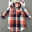 เสื้อเชิ้ตผ้าฝ้ายลายสก๊อตไซส์ใหญ่ สีแดง/สีฟ้า (XL,2XL,3XL,4XL) thumbnail 4