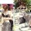 ผ้าคลุมชายหาด ลายแนวขวาง : สีดำขาว AB0009 thumbnail 4