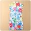 ชุดกี่เพ้าสั้นผ้าซาตินยืดสไตล์คลาสสิก คอจีน กระดุมจีน แขนในตัว สีแดงลายดอก (XL,2XL,3XL) thumbnail 3