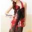 ผ้าคลุมชายหาดลายดอกไม้ Blossom : สีแดงชมพูพื้นดำ AB0007 thumbnail 2