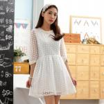 ชุดเดรสเจ้าหญิง สีขาว ผ้าออแกนซ่า คอเสื้อติดไข่มุกประดับเพชร (XL,2XL,3XL)
