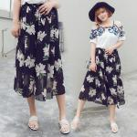 [PRE-ORDER] กางเกงชีฟองลายดอกไซส์ใหญ่ เอวยางยืด (XL,2XL)