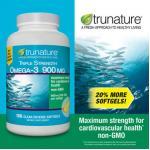 Trunature-TRIPLE Strength OMEGA-3 =900mg (เข้มข้น3เท่า) ขวด200 เม็ด บำรุงหัวใจ ควบคุมไขมันในเลือด (exp.07/2020) หมด-มา5กค