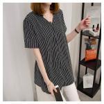 [PRE-ORDER] เสื้อทีเชิ้ตคอวีลายทาง สีดำ/สีขาว (XL,2XL,3XL,4XL,5XL)
